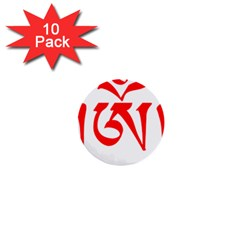 Tibetan Om Symbol (red) 1  Mini Buttons (10 Pack)  by abbeyz71