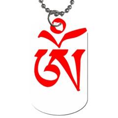 Tibetan Om Symbol (red) Dog Tag (one Side) by abbeyz71