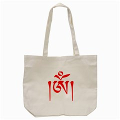 Tibetan Om Symbol (red) Tote Bag (cream) by abbeyz71