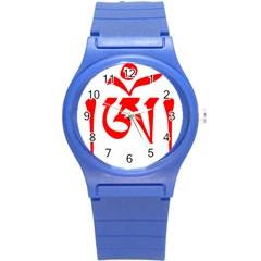 Tibetan Om Symbol (red) Round Plastic Sport Watch (s) by abbeyz71