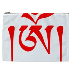 Tibetan Om Symbol (red) Cosmetic Bag (xxl)  by abbeyz71