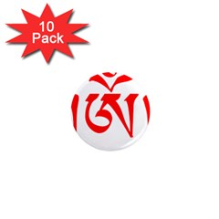 Tibetan Om Symbol (red) 1  Mini Magnet (10 Pack)  by abbeyz71