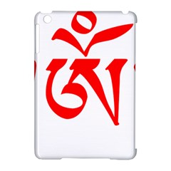 Tibetan Om Symbol (red) Apple Ipad Mini Hardshell Case (compatible With Smart Cover) by abbeyz71