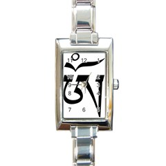 Tibetan Om Symbol (black) Rectangle Italian Charm Watch by abbeyz71