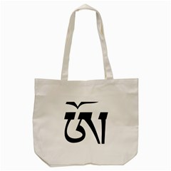 Tibetan Om Symbol (black) Tote Bag (cream) by abbeyz71