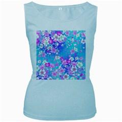 Flowers Cute Pattern Women s Baby Blue Tank Top by Nexatart