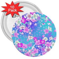 Flowers Cute Pattern 3  Buttons (10 pack)  by Nexatart