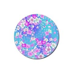 Flowers Cute Pattern Rubber Round Coaster (4 Pack)  by Nexatart