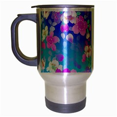 Flowers Cute Pattern Travel Mug (silver Gray) by Nexatart