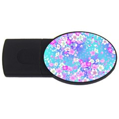 Flowers Cute Pattern Usb Flash Drive Oval (4 Gb)