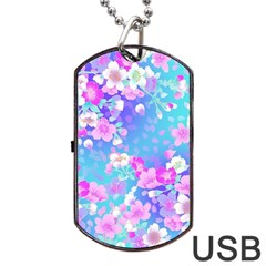 Flowers Cute Pattern Dog Tag Usb Flash (one Side) by Nexatart
