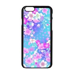 Flowers Cute Pattern Apple Iphone 6/6s Black Enamel Case by Nexatart