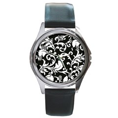 Black And White Floral Patterns Round Metal Watch