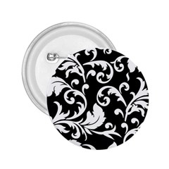 Black And White Floral Patterns 2 25  Buttons