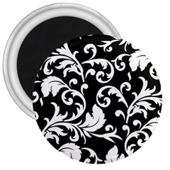 Black And White Floral Patterns 3  Magnets