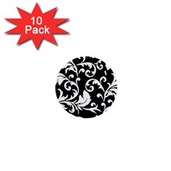 Black And White Floral Patterns 1  Mini Buttons (10 Pack)  by Nexatart