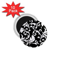 Black And White Floral Patterns 1 75  Magnets (10 Pack)