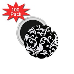 Black And White Floral Patterns 1 75  Magnets (100 Pack)
