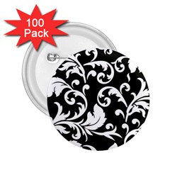 Black And White Floral Patterns 2 25  Buttons (100 Pack)  by Nexatart