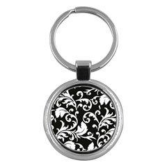 Black And White Floral Patterns Key Chains (round)  by Nexatart