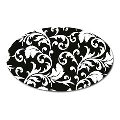 Black And White Floral Patterns Oval Magnet by Nexatart