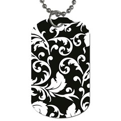 Black And White Floral Patterns Dog Tag (two Sides)