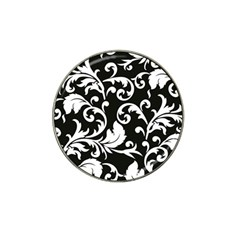 Black And White Floral Patterns Hat Clip Ball Marker