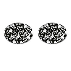 Black And White Floral Patterns Cufflinks (oval) by Nexatart