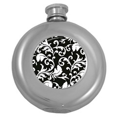 Black And White Floral Patterns Round Hip Flask (5 Oz) by Nexatart