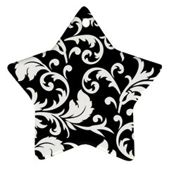 Black And White Floral Patterns Star Ornament (two Sides) by Nexatart