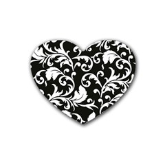 Black And White Floral Patterns Heart Coaster (4 Pack)