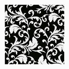 Black And White Floral Patterns Medium Glasses Cloth (2 Side) by Nexatart