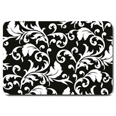 Black And White Floral Patterns Large Doormat