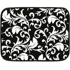 Black And White Floral Patterns Double Sided Fleece Blanket (mini)