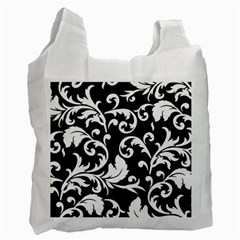 Black And White Floral Patterns Recycle Bag (one Side) by Nexatart