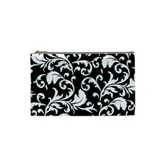 Black And White Floral Patterns Cosmetic Bag (small)