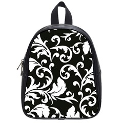 Black And White Floral Patterns School Bags (small)  by Nexatart
