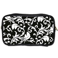 Black And White Floral Patterns Toiletries Bags by Nexatart
