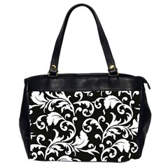 Black And White Floral Patterns Office Handbags (2 Sides)  by Nexatart