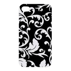 Black And White Floral Patterns Apple Iphone 4/4s Hardshell Case by Nexatart