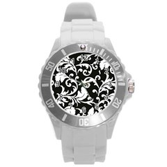 Black And White Floral Patterns Round Plastic Sport Watch (l) by Nexatart