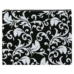 Black And White Floral Patterns Cosmetic Bag (xxxl)  by Nexatart