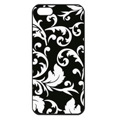 Black And White Floral Patterns Apple Iphone 5 Seamless Case (black)
