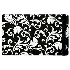 Black And White Floral Patterns Apple Ipad 2 Flip Case by Nexatart