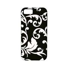 Black And White Floral Patterns Apple Iphone 5 Classic Hardshell Case (pc+silicone)