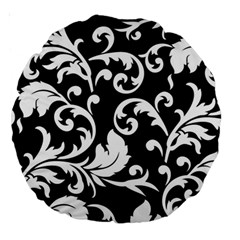 Black And White Floral Patterns Large 18  Premium Round Cushions