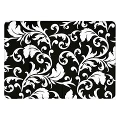 Black And White Floral Patterns Samsung Galaxy Tab 8 9  P7300 Flip Case by Nexatart
