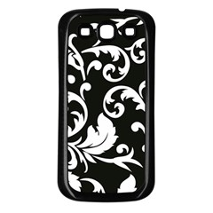 Black And White Floral Patterns Samsung Galaxy S3 Back Case (black) by Nexatart