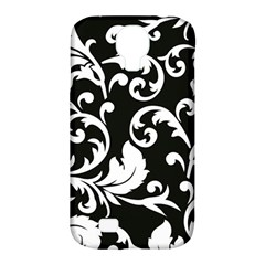 Black And White Floral Patterns Samsung Galaxy S4 Classic Hardshell Case (pc+silicone)