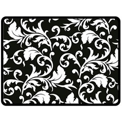 Black And White Floral Patterns Double Sided Fleece Blanket (large)  by Nexatart